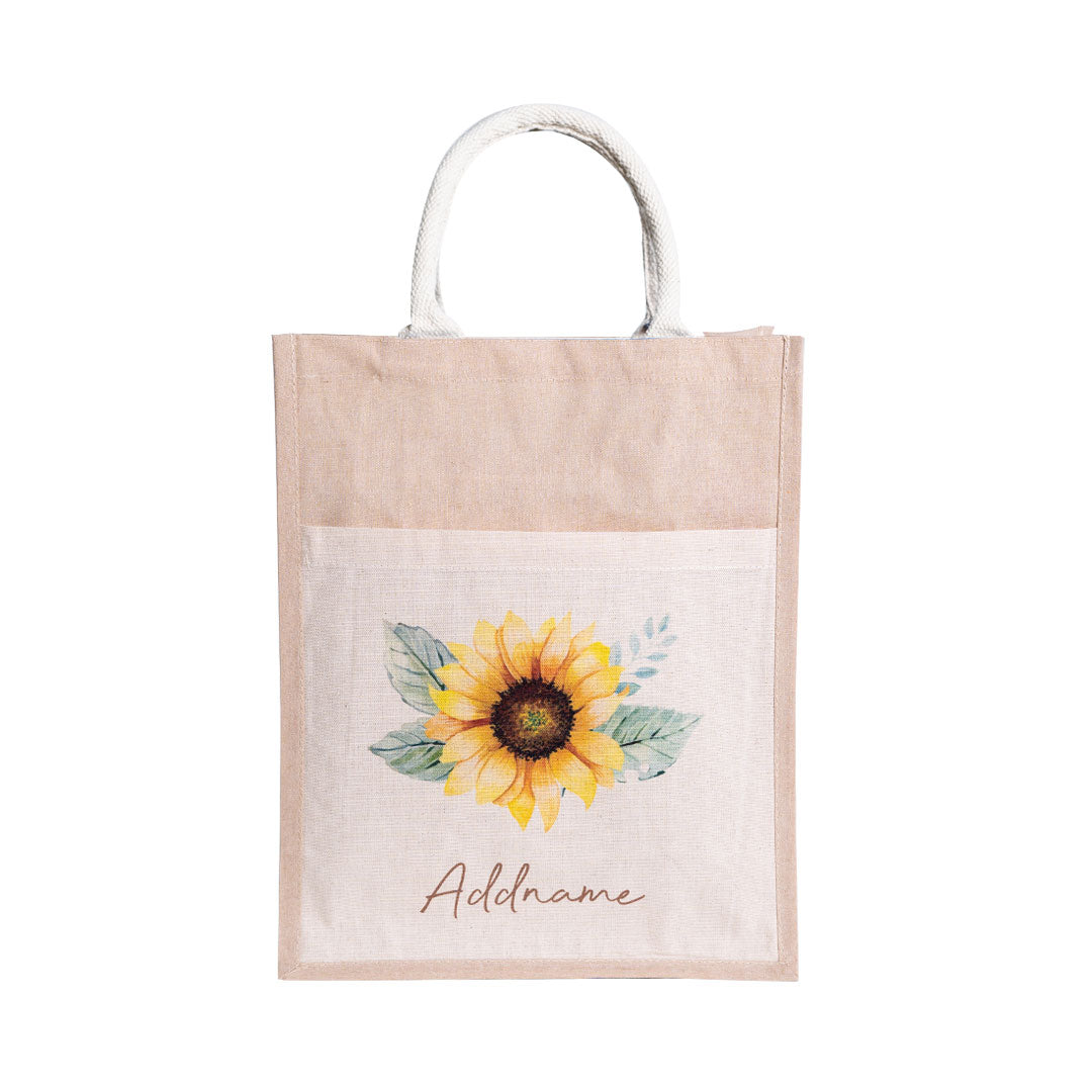 Sunflower With Natural Coloured Canvas Bag with Pocket