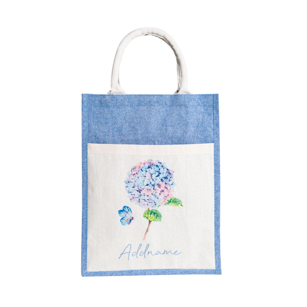 Hydrangea With Blue Coloured Canvas Bag with Pocket
