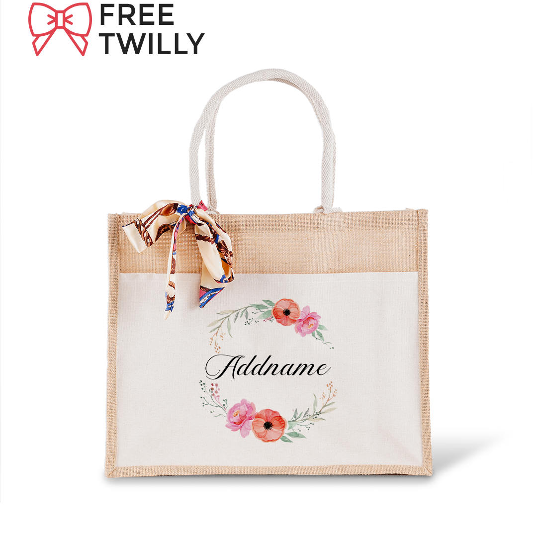 Elegant Flower Wreath Jute Bag with Front Pocket
