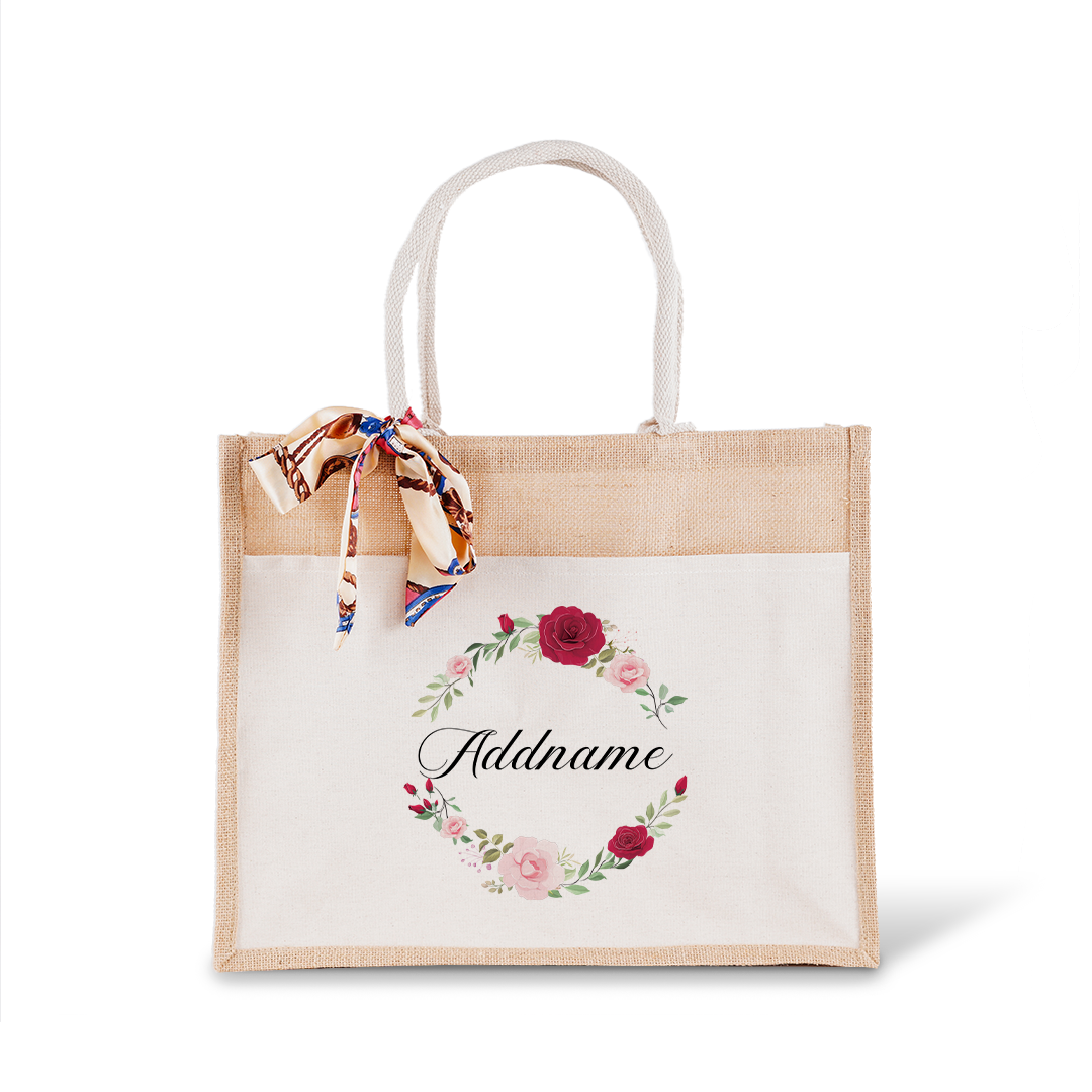 Luxurious Flower Wreath Jute Bag with Front Pocket