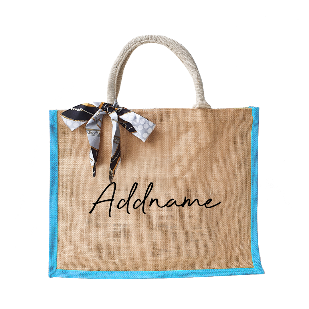 Brown Jute Bag with Colour Lining
