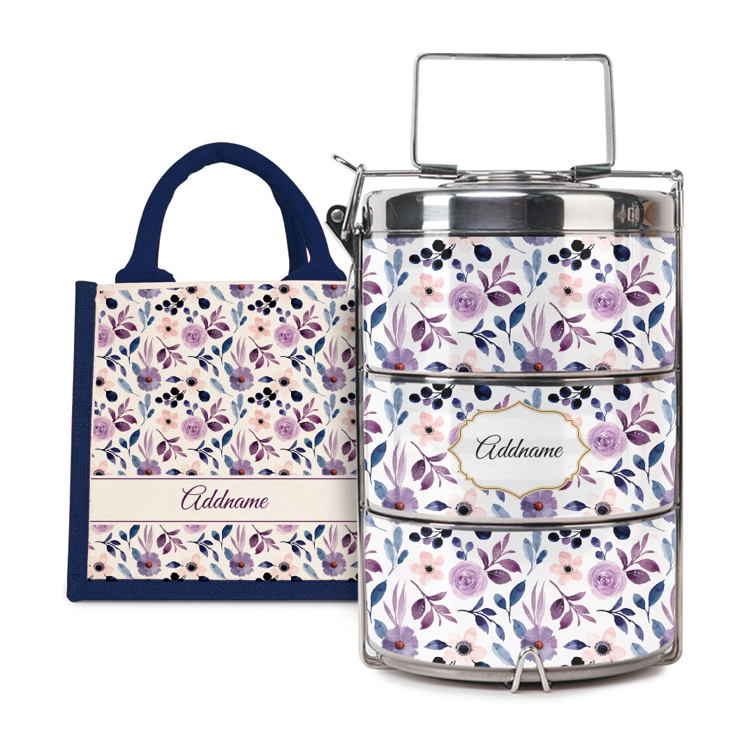 [RAYA 2021] Laura Series - Violet Half Lining Lunch Bag with Tiffin Carrier