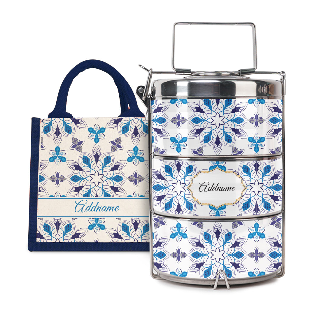 [RAYA 2021] Moroccan Series - Arabesque Frost Half Lining Lunch Bag with Tiffin Carrier