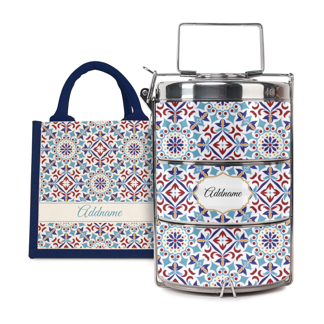 [RAYA 2021] Moroccan Series - Arabesque Agean Blue Half Lining Lunch Bag with Tiffin Carrier