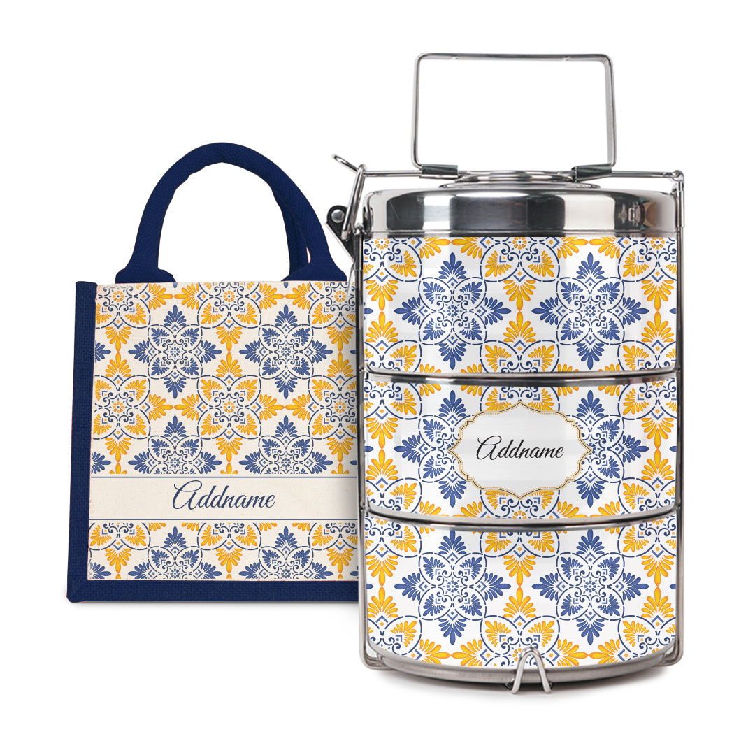 [RAYA 2021] Moroccan Series - Arabesque Butter Blue Half Lining Lunch Bag with Tiffin Carrier