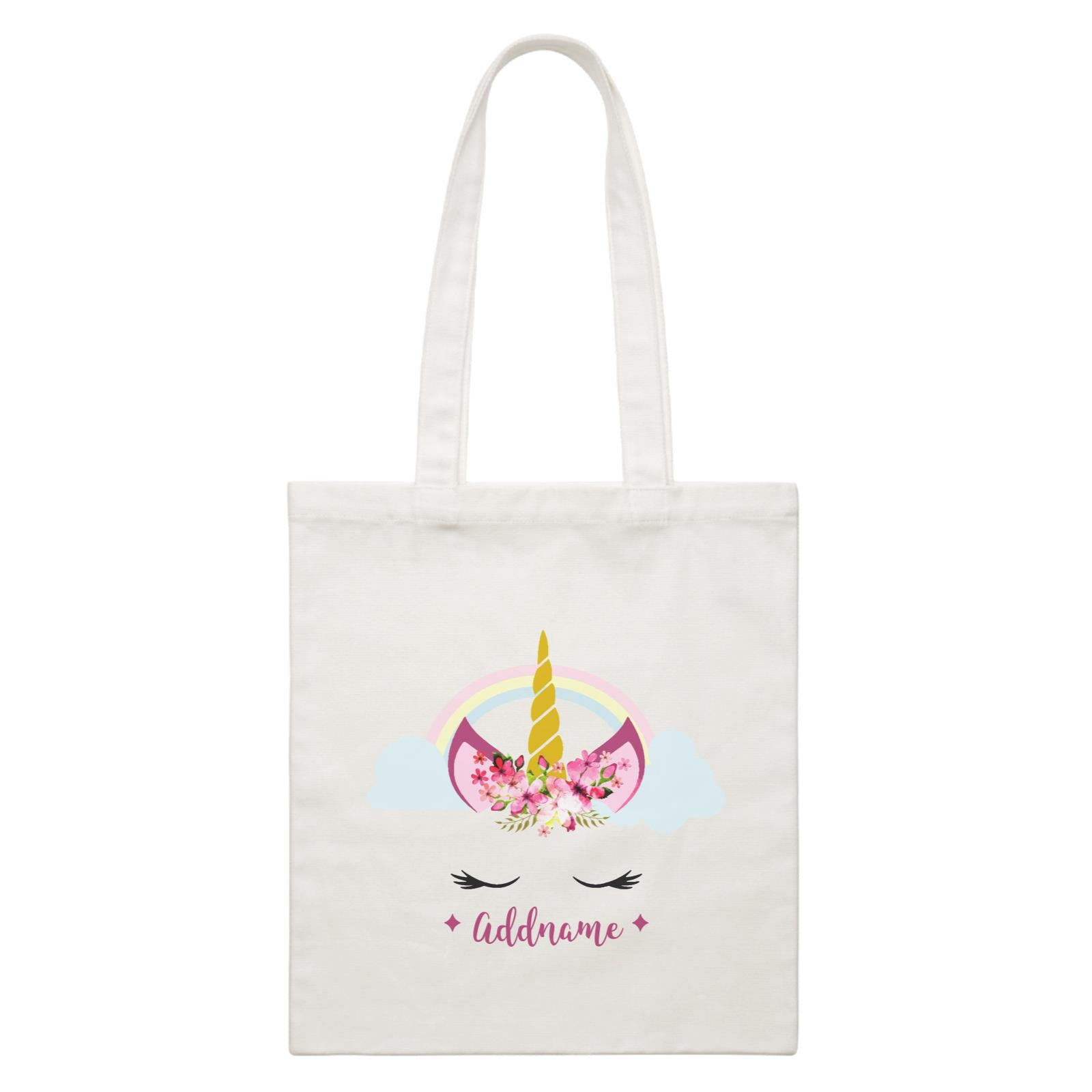 Unicorn Face Girl Addname White Canvas Bag