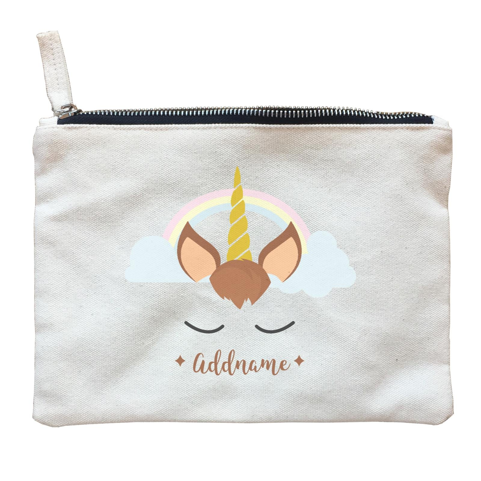 Unicorn Face Boy Addname Zipper Pouch