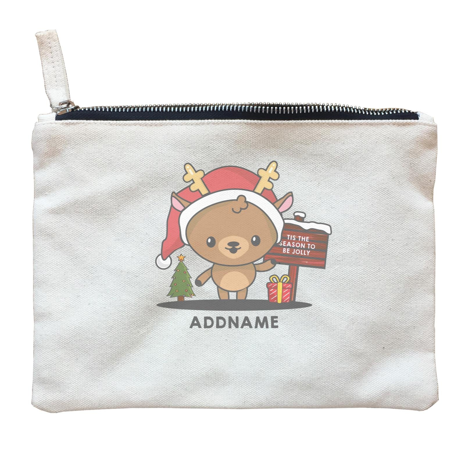Christmas Cute Jolly Series Deer Addname Zipper Pouch