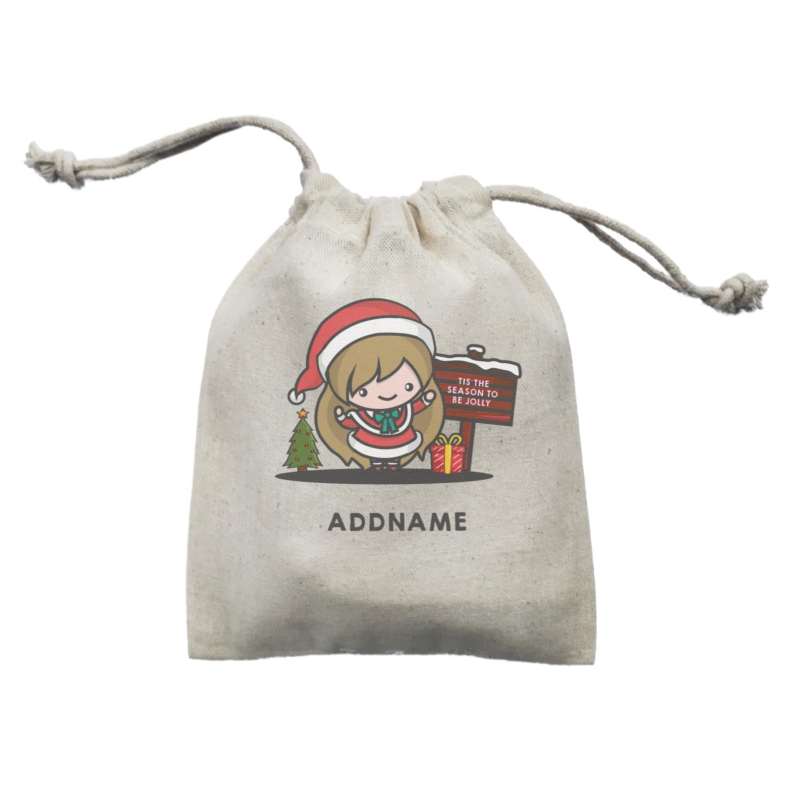 Christmas Cute Jolly Series Santa Girl Addname  Mini Accessories Mini Pouch