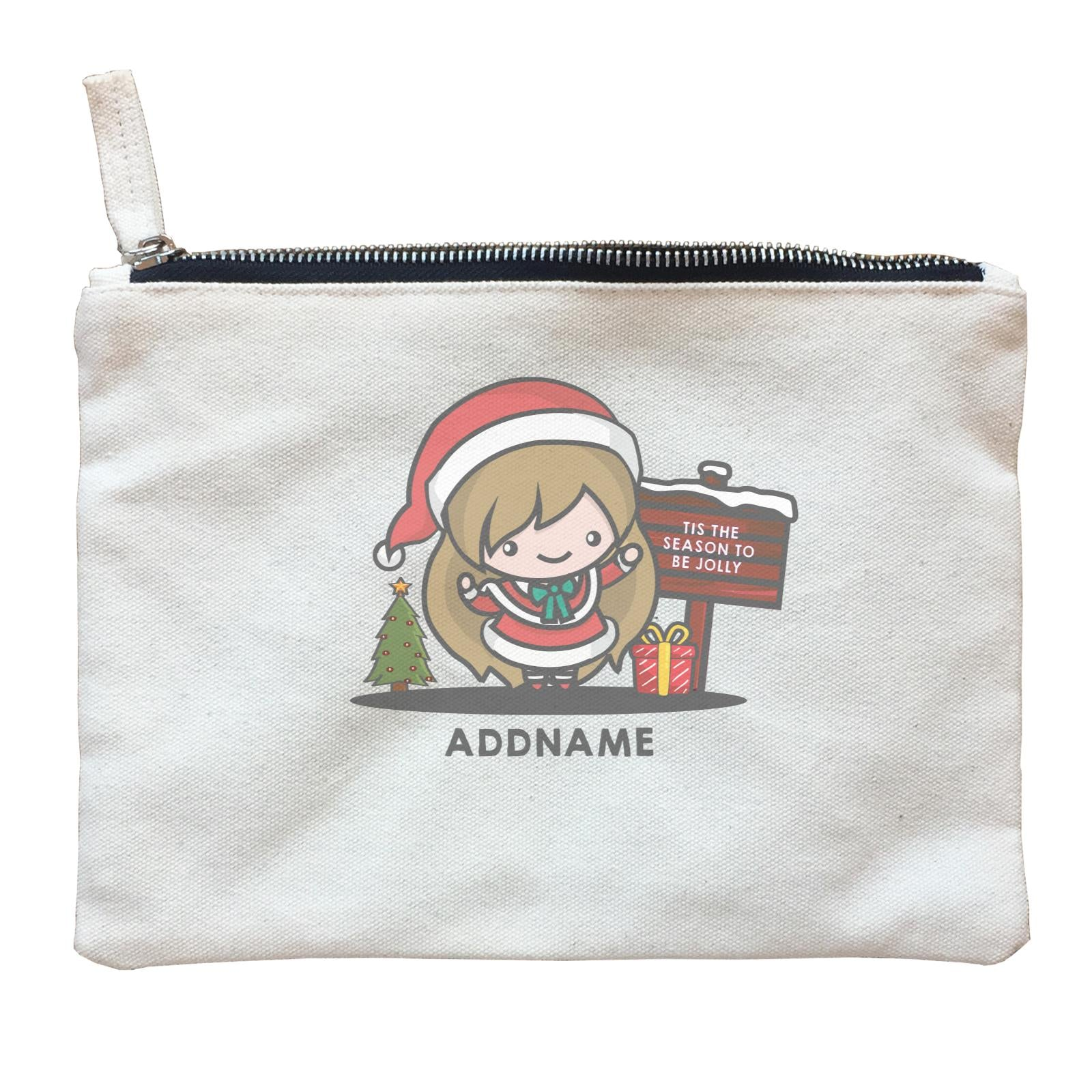 Christmas Cute Jolly Series Santa Girl Addname Zipper Pouch