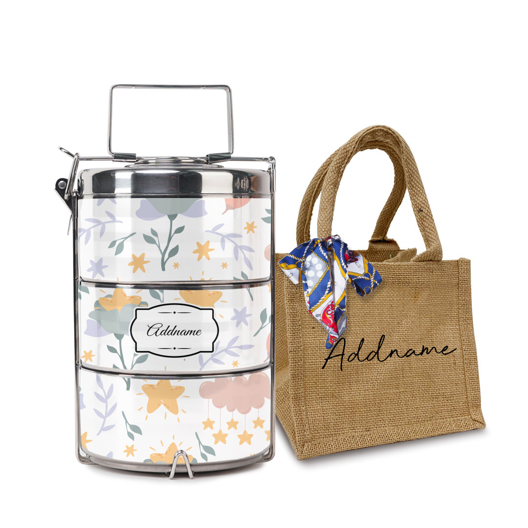 Dreamy Flowers Tiffin Carrier with Small Lunch Bag Set