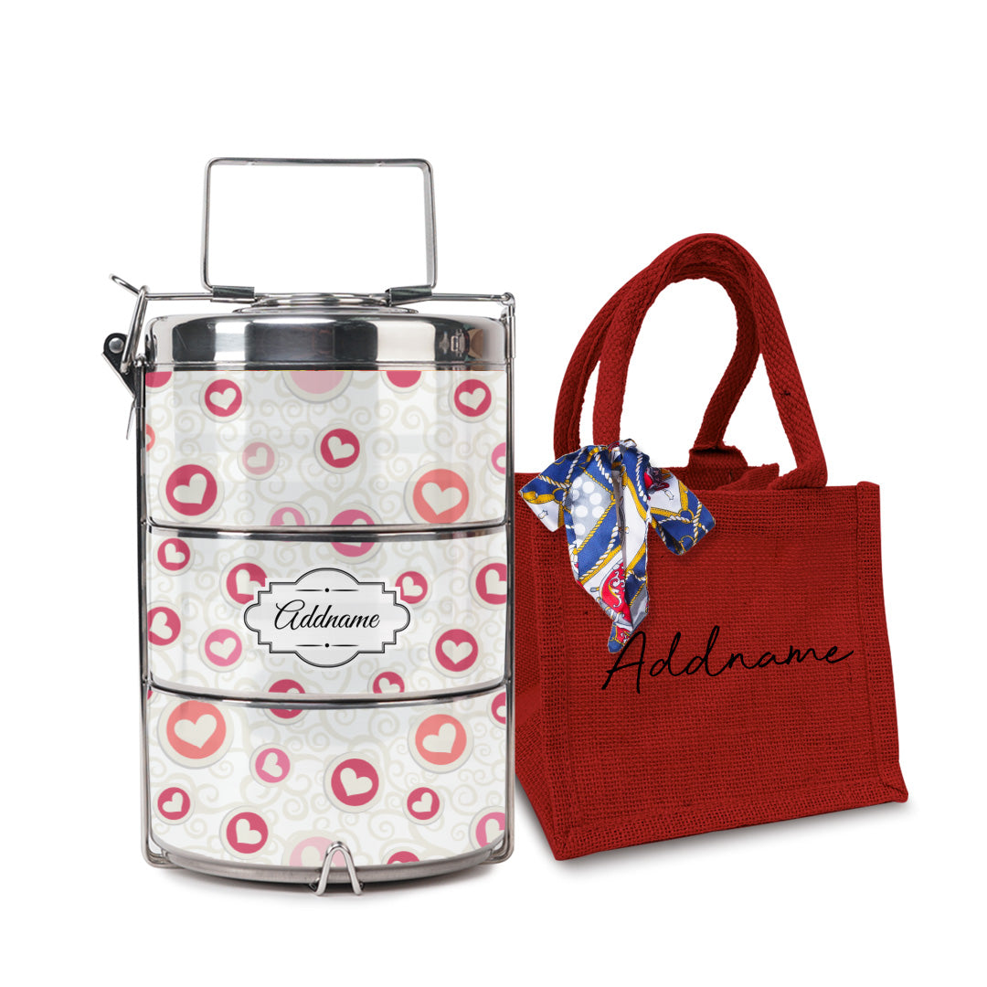 Flying Hearts Tiffin Carrier with Small Lunch Bag Set