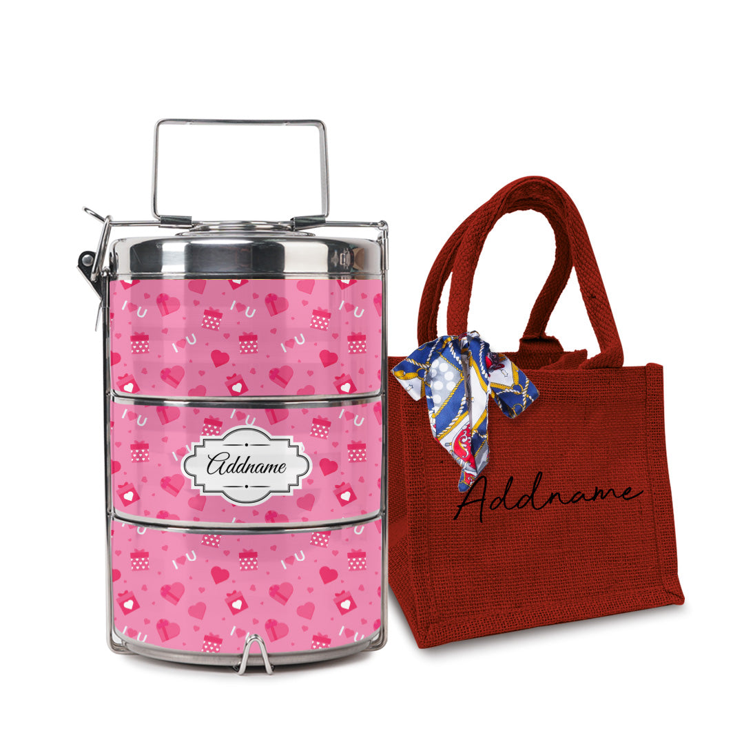 Pink Love Gift Tiffin Carrier with Small Lunch Bag Set
