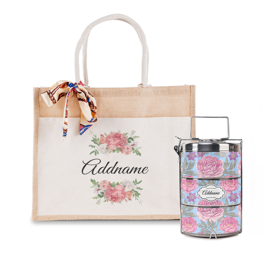 Peony Flower Tiffin Carrier and Jute Bag with Front Pocket Set