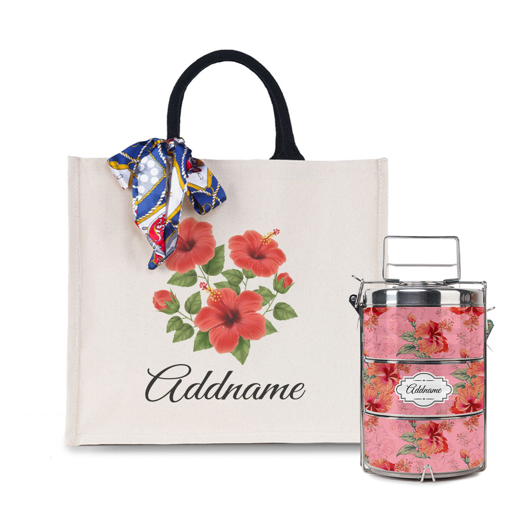 Hibiscus Tiffin Carrier and Elegant Thick Canvas Lady's Bag Set