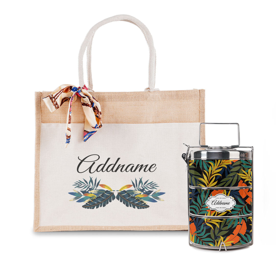 Colourful Leaves Tiffin Carrier and Jute Bag with Front Pocket Set