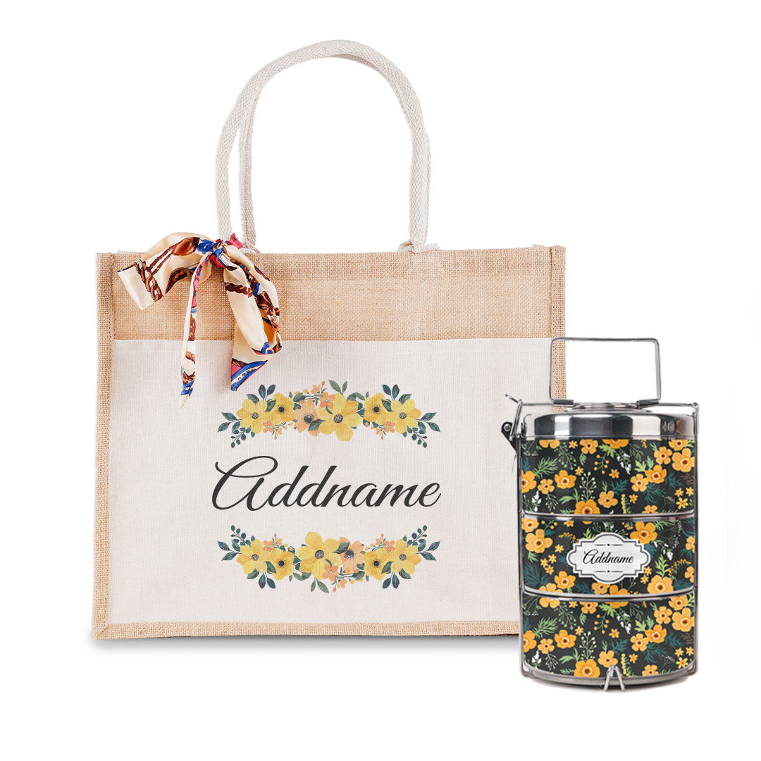 Yellow Windflower Tiffin Carrier and Jute Bag with Front Pocket Set