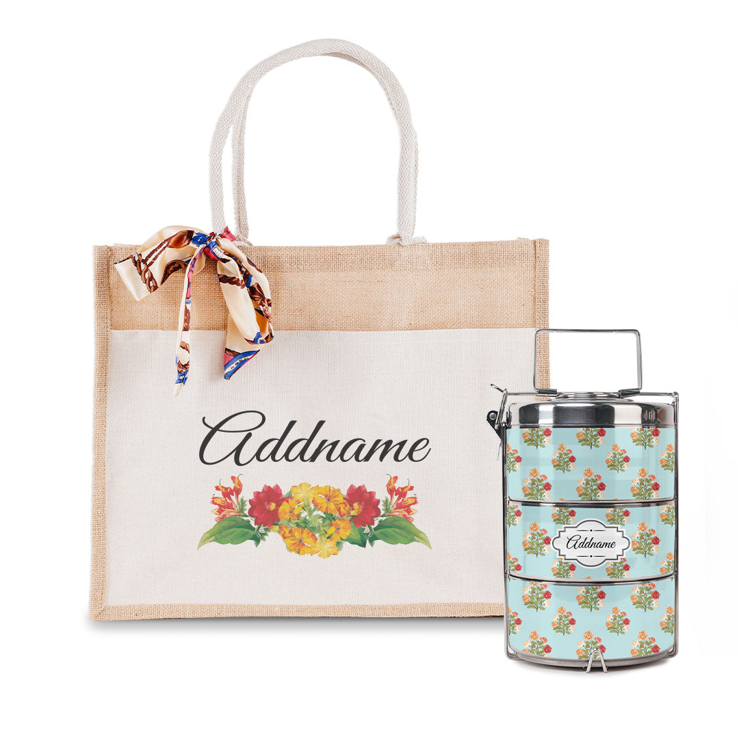 Retro Rose Bouquet Flower Tiffin Carrier and Jute Bag with Front Pocket Set