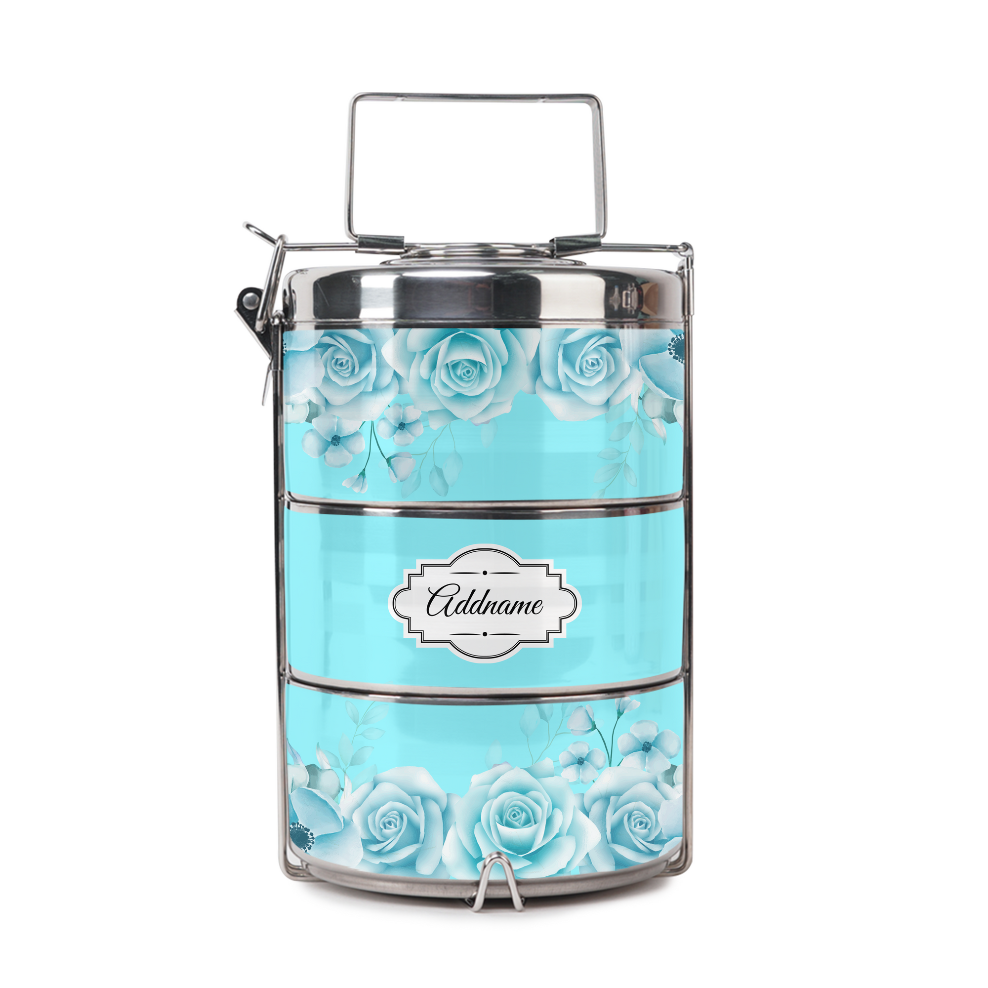 Full Turquoise Rose Tiffin Carrier