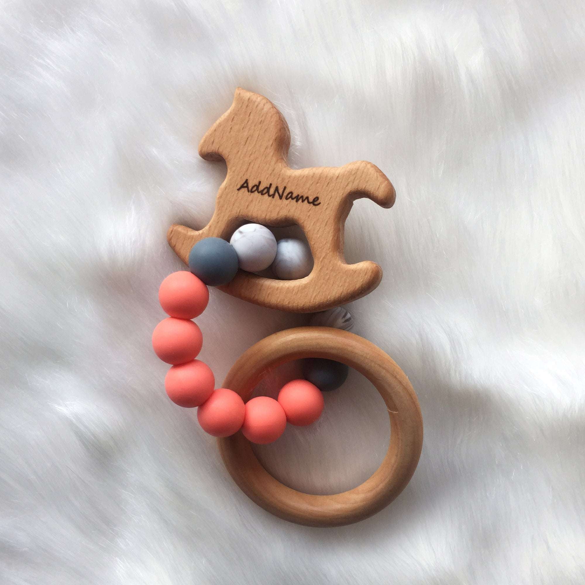 Zaturee Personalisable Peachy Trojan & Ring Sensory Teether