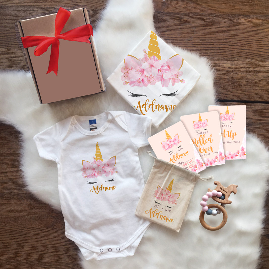 Pink Flower Garland Unicorn Face Newborn Gift Set (UNDER RM 160)