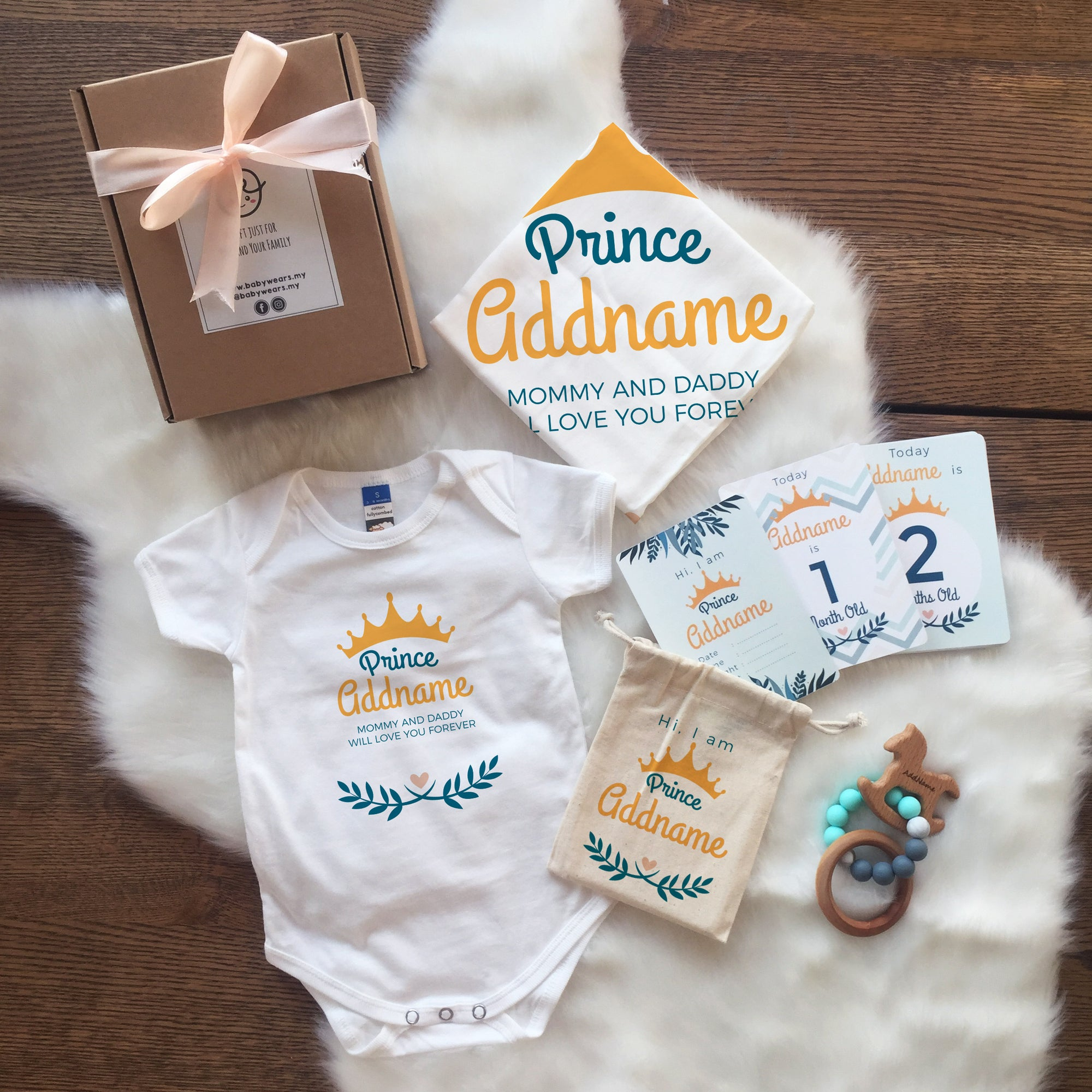 Prince with Crown and Leaves Newborn Gift Set with Personalised Milestone Cards and Baby Sensory Teether (UNDER RM 160)