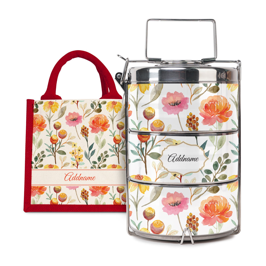 [RAYA 2021] Laura Series - Carnelian Half Lining Lunch Bag with Tiffin Carrier