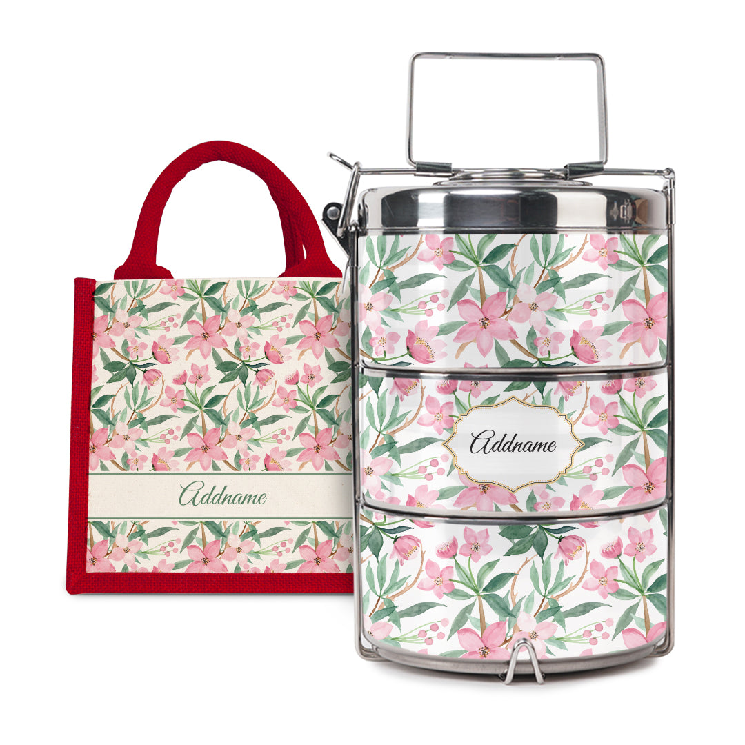 [RAYA 2021] Laura Series - Blossom Half Lining Lunch Bag with Tiffin Carrier