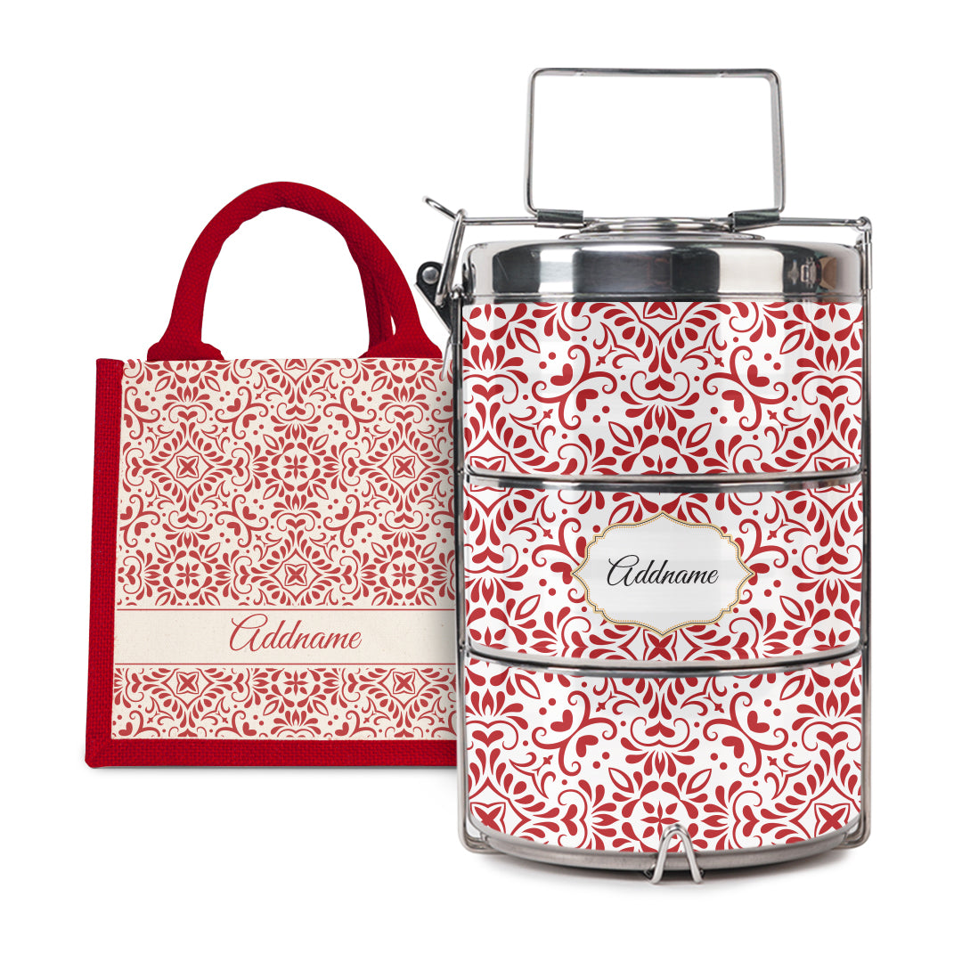 [RAYA 2021] Moroccan Series - Arabesque Rosette Half Lining Lunch Bag with Tiffin Carrier