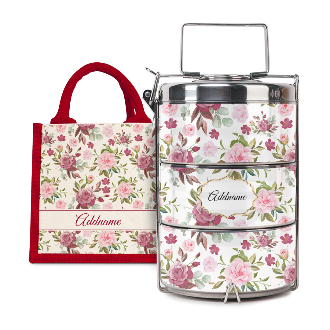 [RAYA 2021] Laura Series - Ruby Half Lining Lunch Bag with Tiffin Carrier