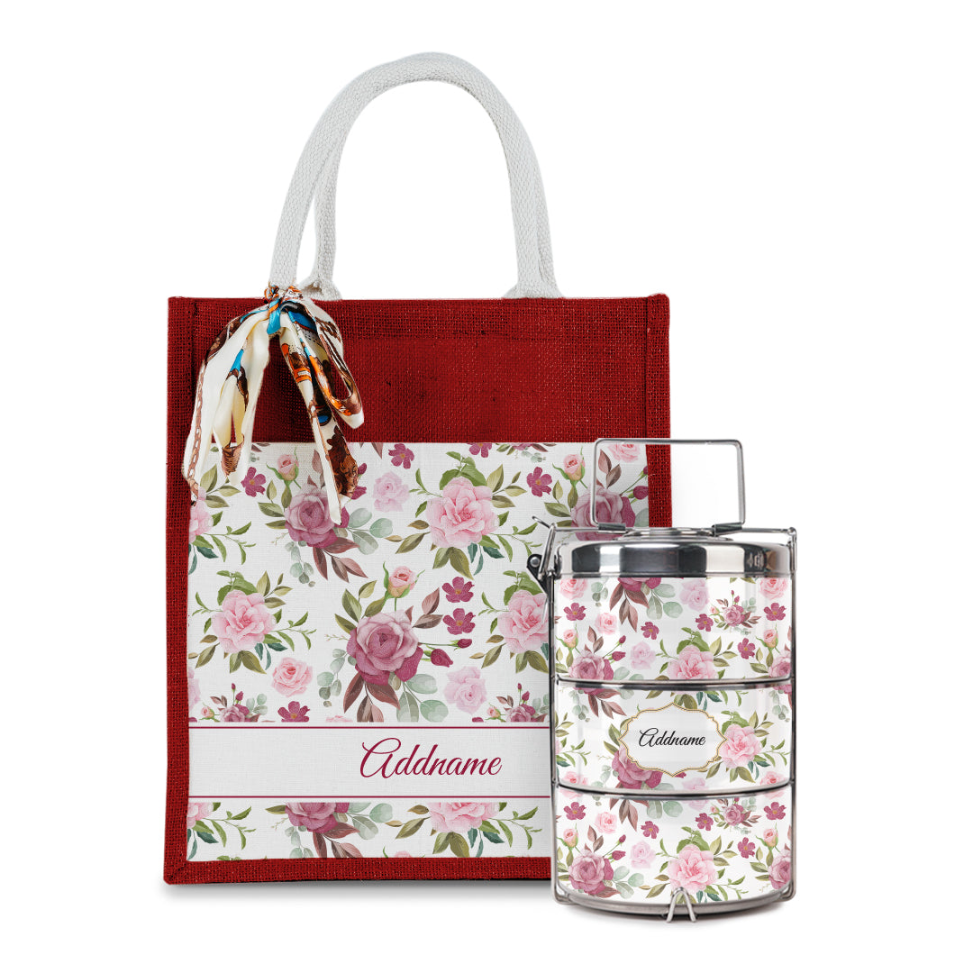 Laura Series - Ruby Colorful Jute Bag with Tiffin Carrier Set