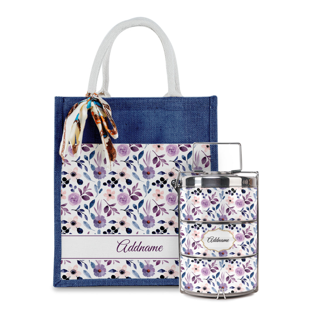 Laura Series - Violet Colorful Jute Bag with Front Pocket with Tiffin Carrier Set
