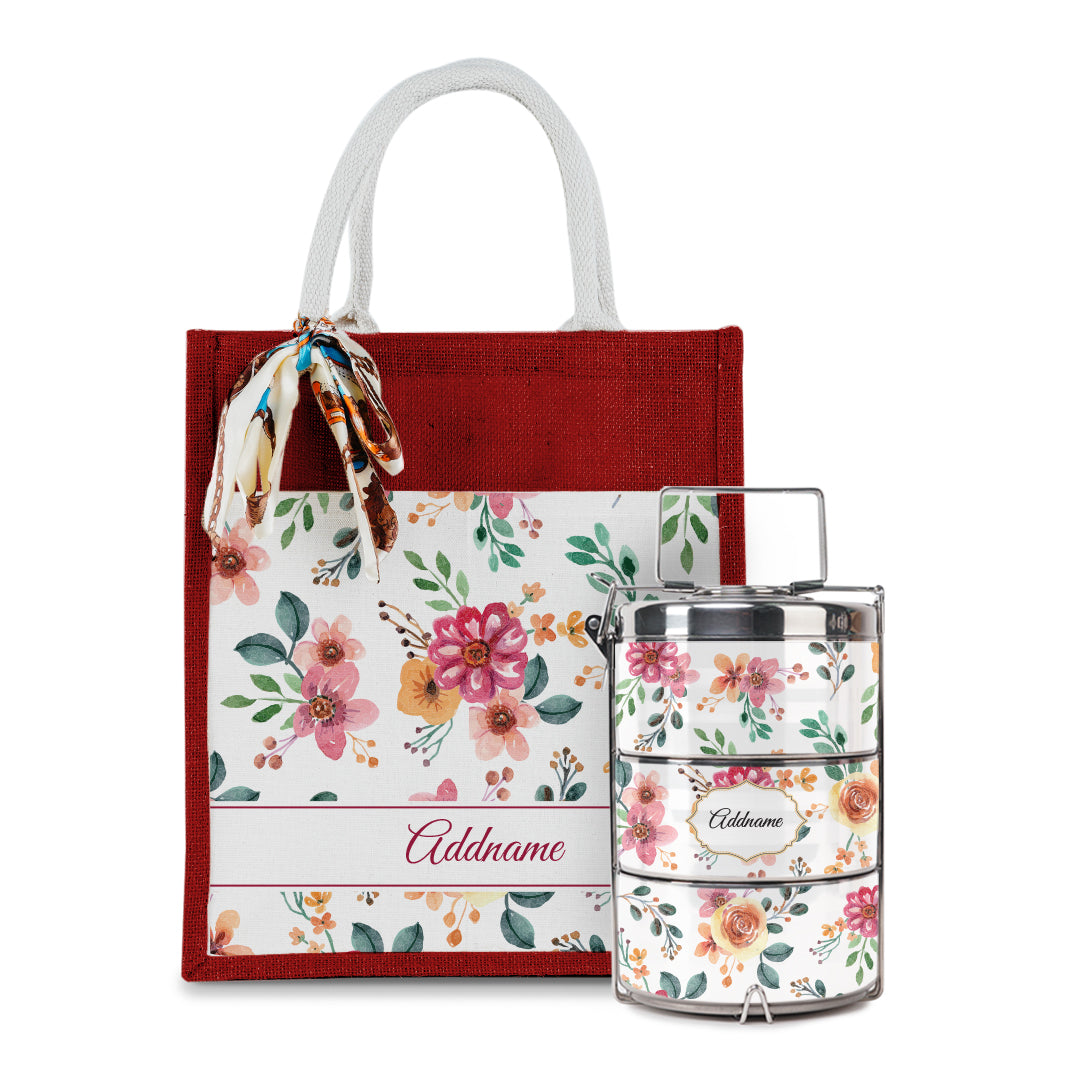 Laura Series - Garnet Colorful Jute Bag with Tiffin Carrier Set