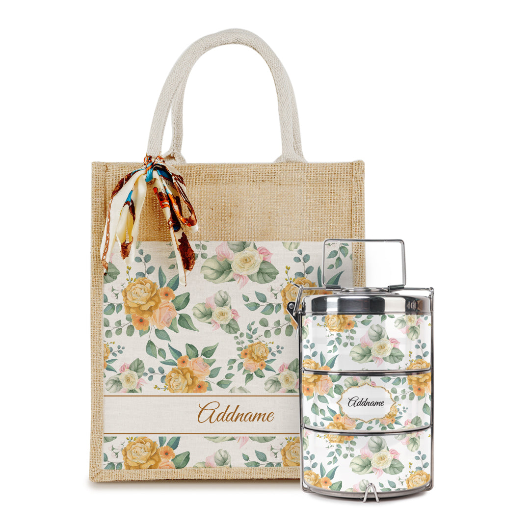 Laura Series - Honey Colorful Jute Bag with Tiffin Carrier Set