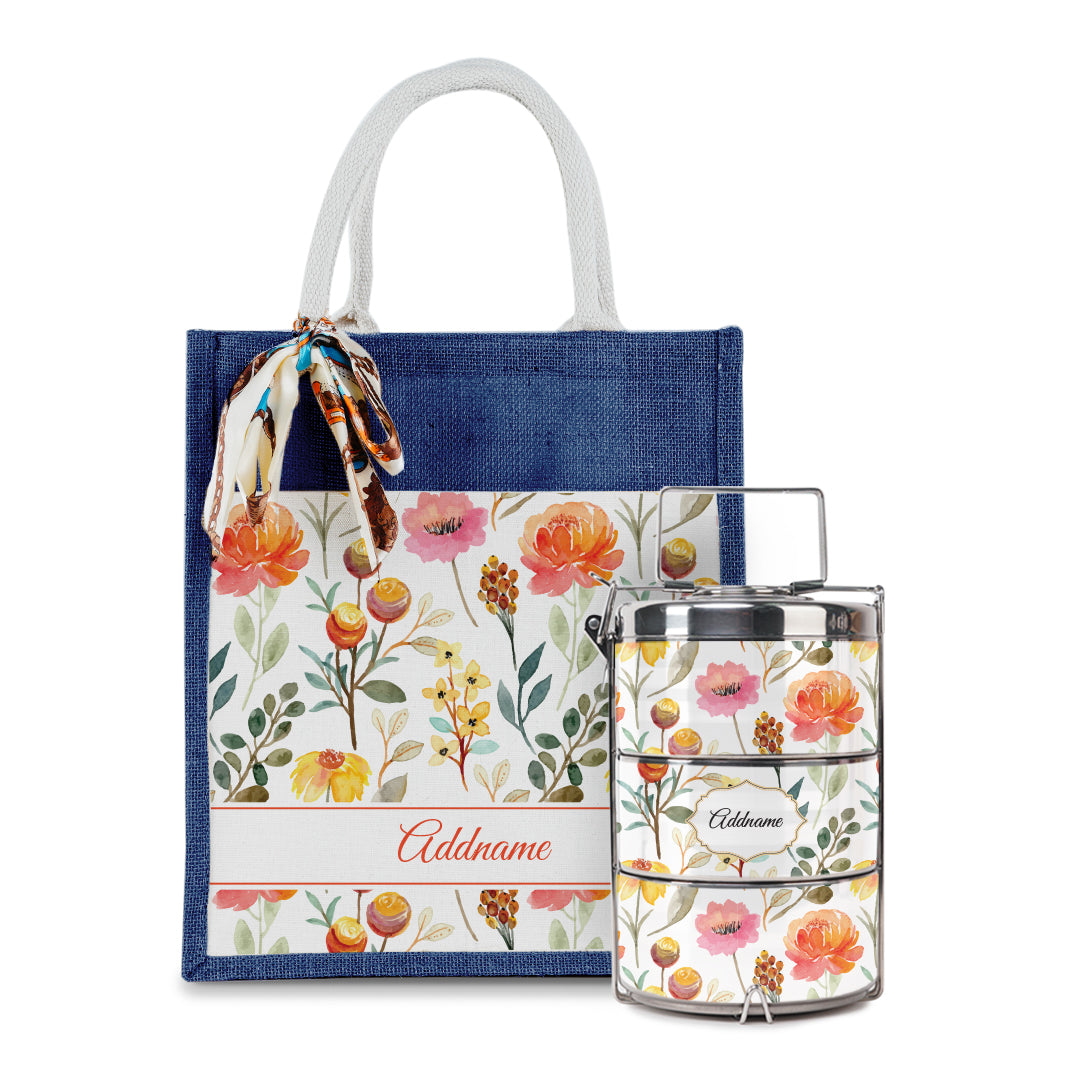 Laura Series - Carnelian Colorful Jute Bag with Tiffin Carrier Set