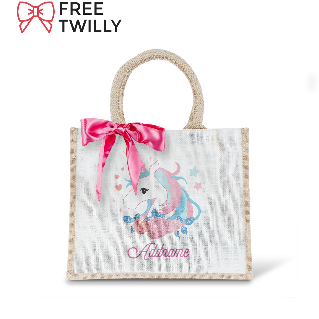 Unicorn Series Pink Unicorn Small Jute Bag