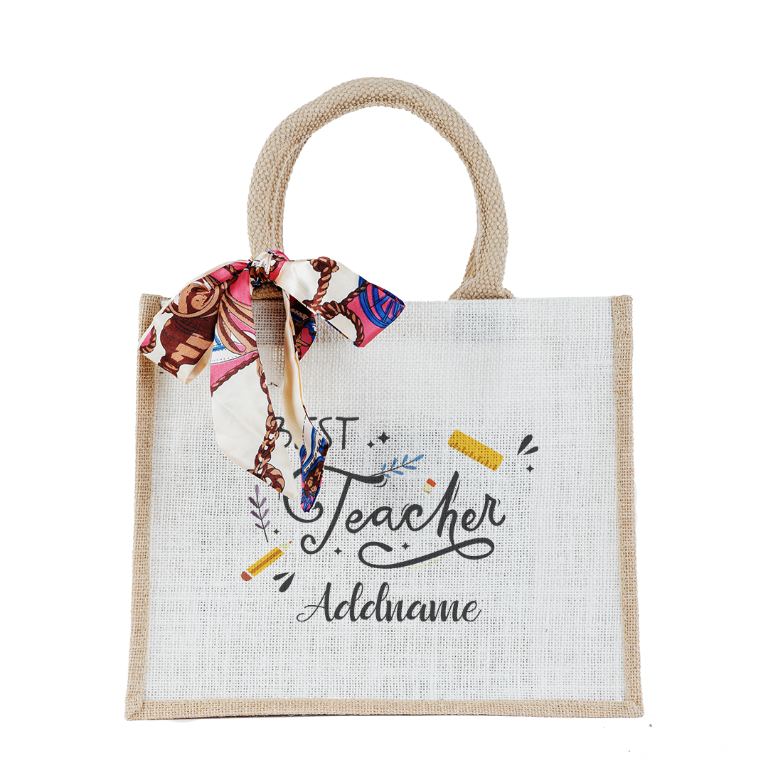 Best Teacher With Elements Small Natural Jute Bag