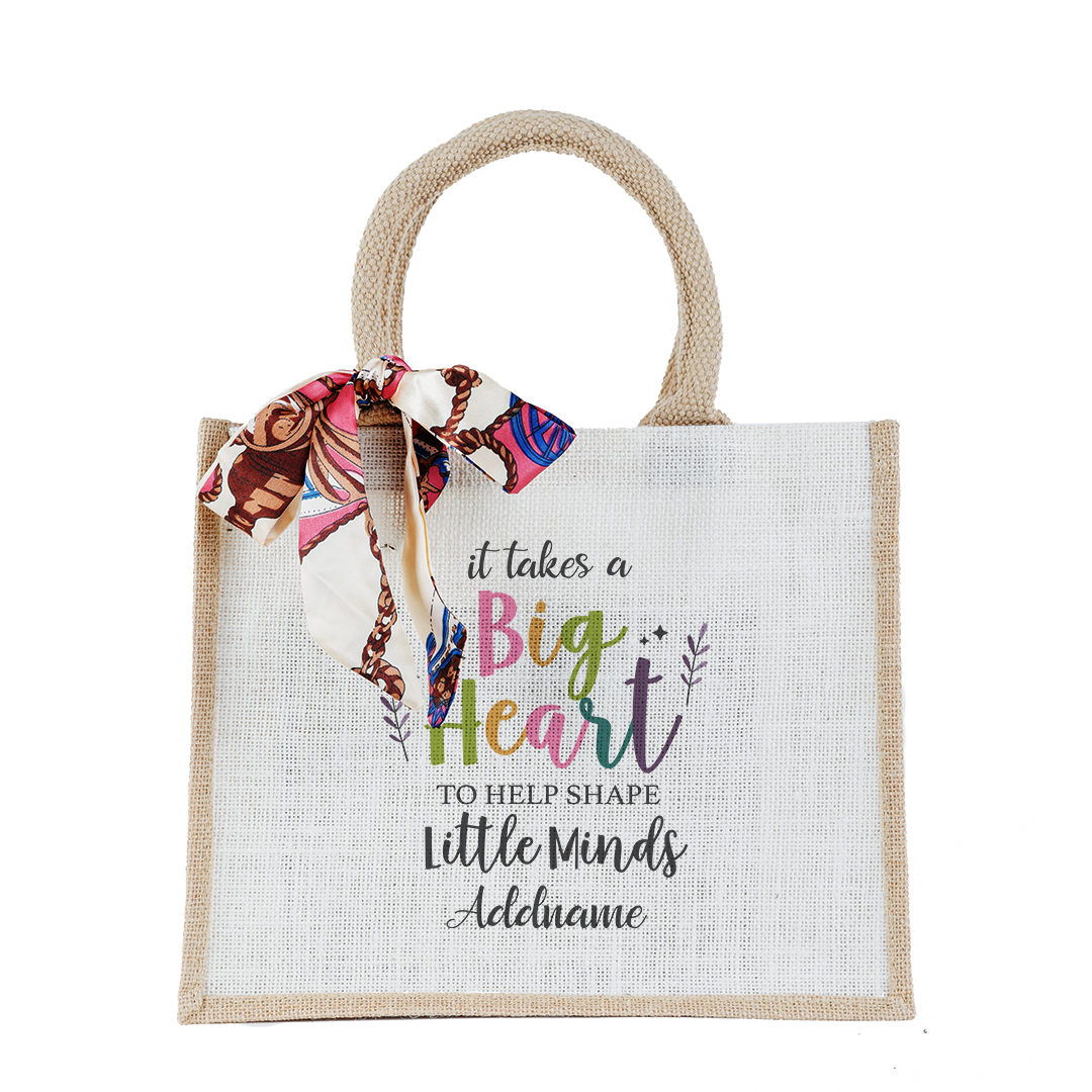 It Takes A Big Heart To Shape Little Minds With Floral Element Small Natural Jute Bag