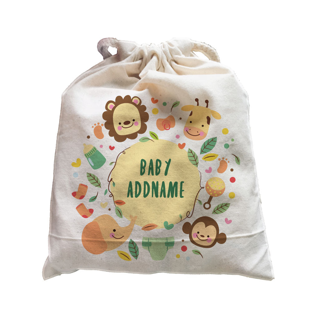 Baby Add Name with Safari Animals Satchel (Fits 1-3 pieces)