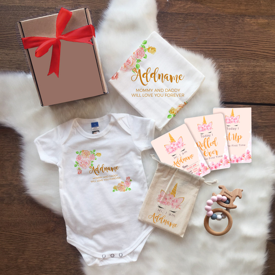 Sweet Rose Frame Personalisable with Name and Text Newborn Gift Set (UNDER RM 160)