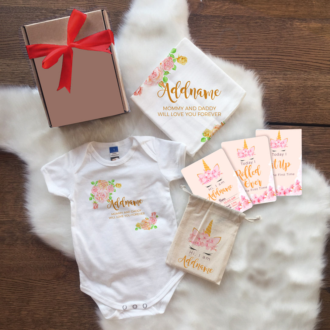 Sweet Rose Frame Newborn Gift Set with Personalised Milestone Cards (UNDER RM 100)