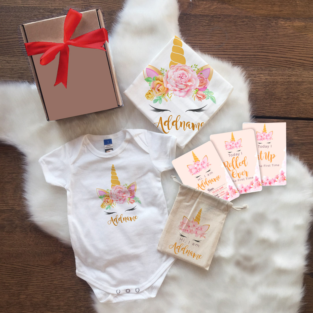 Sweet Rose Garland Newborn Gift Set with Personalised Milestone Cards (UNDER RM 100)