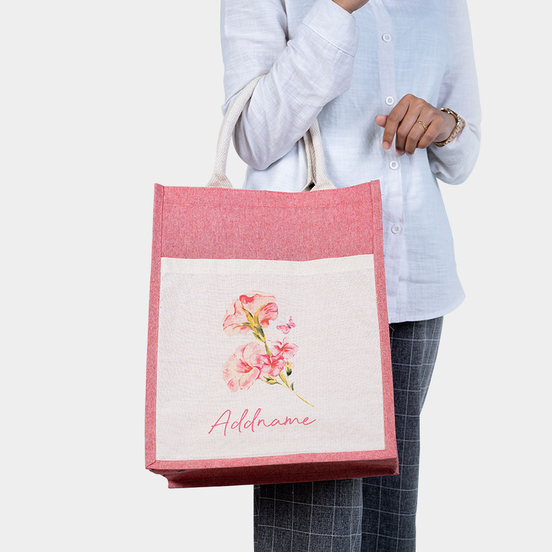 Petunia With Red Coloured Canvas Bag with Pocket
