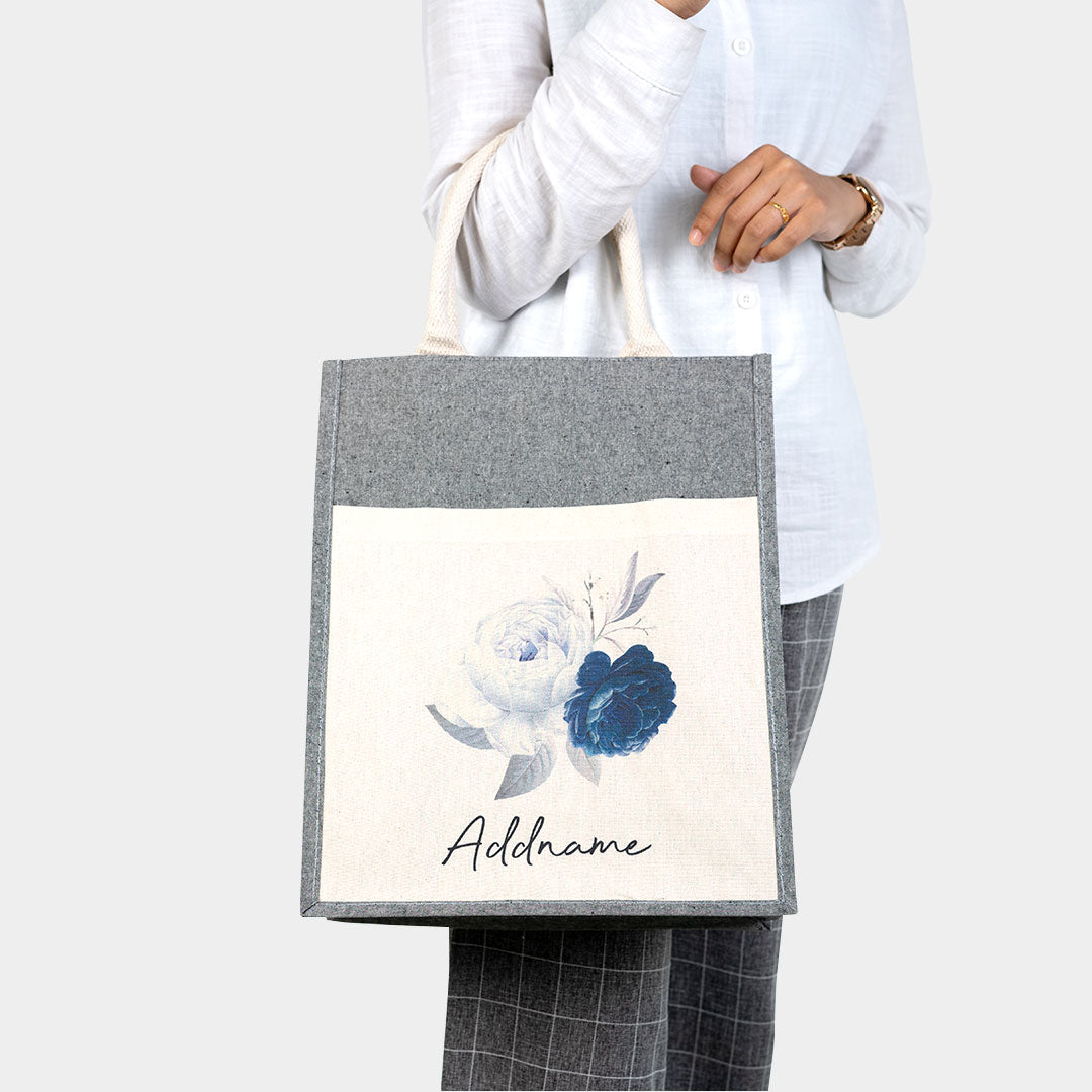Blue Rose With Heather Grey Coloured Canvas Bag with Pocket
