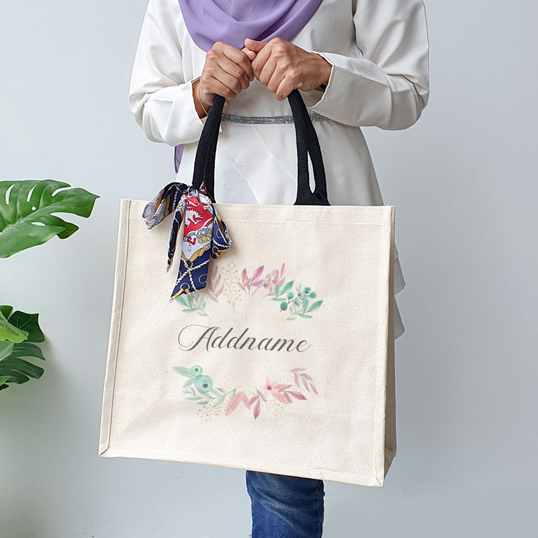 Flower Wreath With Leaves Black Handle Elegant Thick Canvas Lady's Bag