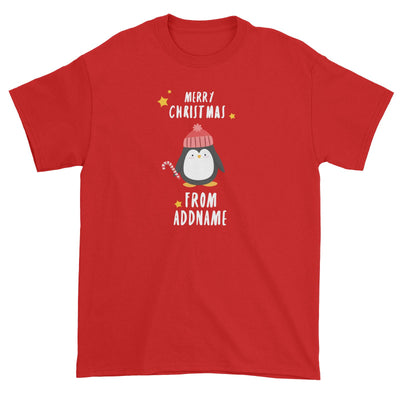 Cute Penguin Merry Christmas Greeting Addname Unisex T-Shirt  Animal Personalizable Designs Matching Family