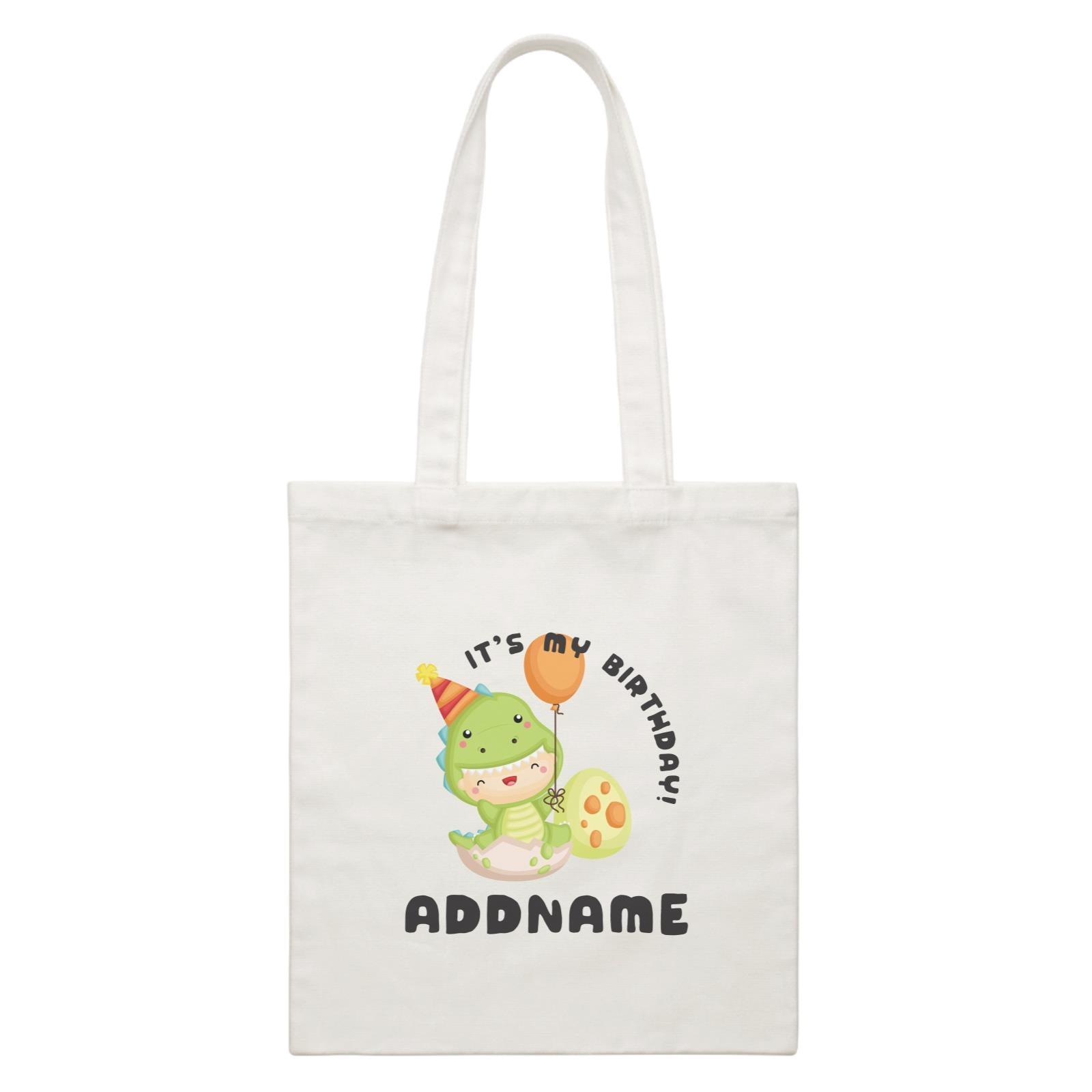 Birthday Dinosaur Happy Baby Wearing Dinosaur Suit It's My Birthday Addname White Canvas Bag