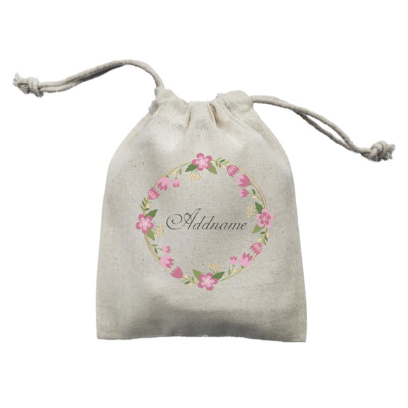 Pink Geometric Flower Wreath Addname Mini Accessories Mini Pouch