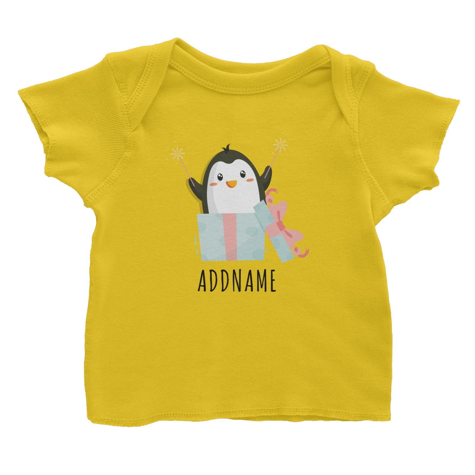 Birthday Cute Penguin Taking Fireworks In Present Box Addname Baby T-Shirt
