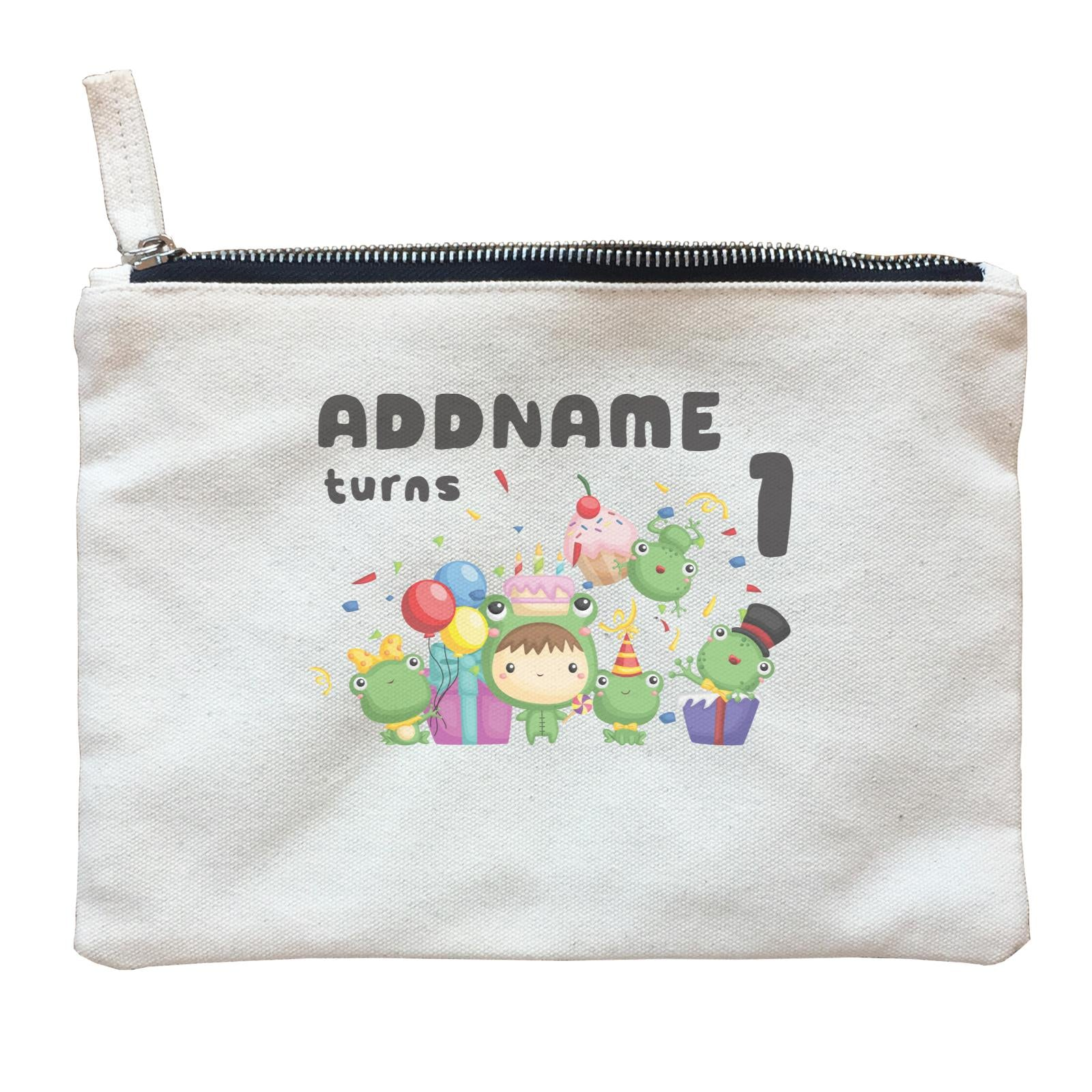 Birthday Frog Happy Frog Group Addname Turns 1 Zipper Pouch